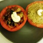 Pomodori ripieni con zucchine e crema di zucchine
