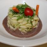 Gnocchetti sardi alle zucchine su letto di Borlotti