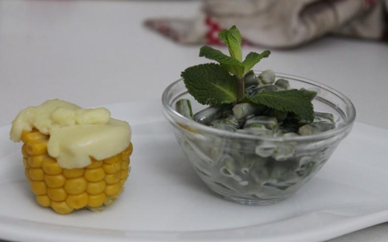 Pannocchia con formaggio e fagiolini alla salsa di erbette